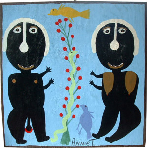 Adam and Eve 1999 24 x 24 acrylic on wood $950